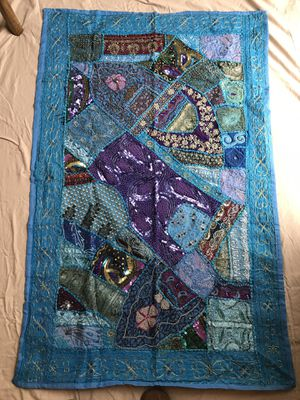 Tapestry from India. Primary color is turquoise. Includes blue, purple, burgundy fabrics, beads, and sequins. New. for Sale in McLean, VA