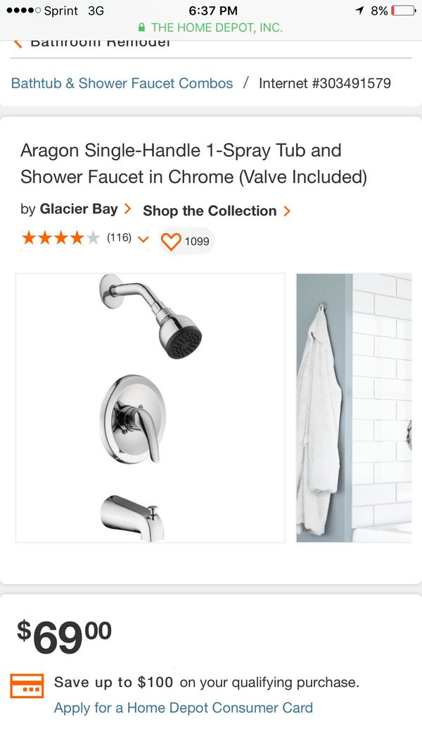 Aragon Single-Handle 1-Spray Tub and Shower Faucet in Brushed nicked (Valve Included)
