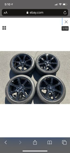 """Mustang rims wheels and tires 19"""" black accent package for Sale in Los Angeles, CA"""