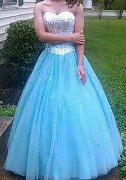 Blue and white chaffon sweetheart corset back prom dress and petticoat for Sale in Nashville, TN