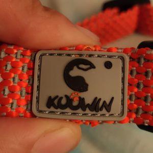 KOOWIN Slip Martingale Dog Collar & Dog Harness, Dog Leash with Reflective Strip, Orange/Grey for Sale in Houston, TX