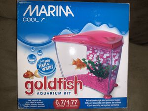 New 1.7 gallon pink fish aquarium starter kit with accessories for Sale in Brooklyn, OH