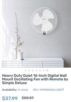 """Digital mount oscillating wall fan Deluxe 16"""" for Sale in Tempe, AZ"""