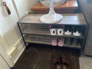 Brown Wooden Black Metal 2-tier Shoe Rack for Sale in Ithaca, NY