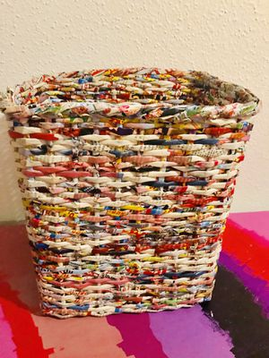 Hand Made Woven Recycled Newspaper Paper Basket Trash Can, Container / Storage Bin Medium Environmentally Friendly for Sale in Austin, TX