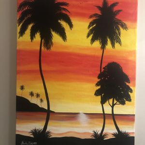 Large Caribbean/Tropical Painting On Canvas for Sale in Suwanee, GA