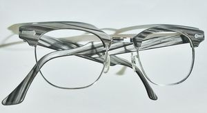 Vintage mid century gray black striated plastic & 12 kt gold filled mens eyeglass frames for Sale in Saginaw, MI
