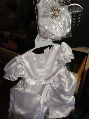 Small adorable girls satin dress w/shoes for Sale in Olathe, CO