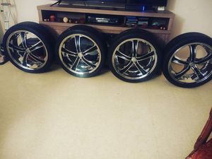 """Brand new 20"""" rims and tires 255/35/20 5×14.3.. $750 cash for Sale in Derby, CT"""