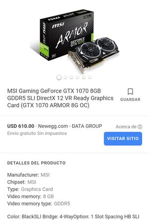 Graphic Card Msi 1070 armor 8gb GPU for Sale in Naples, FL