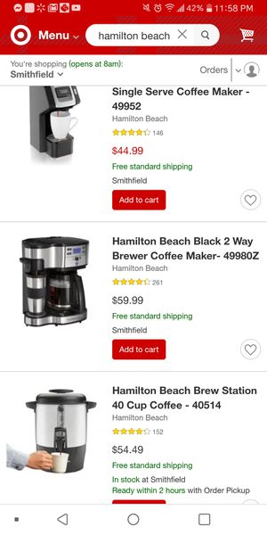Hamilton Beach coffee maker for Sale in Providence, RI