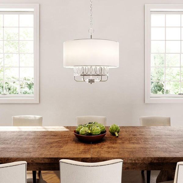 World Imports Venn 6-Light Brushed Nickel Chandelier with White Fabric Shade. BRAND NEW!