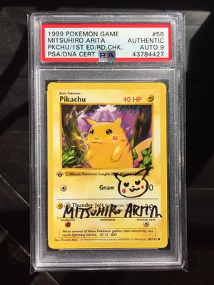 1st Edition Shadowless Pikachu {Red Cheeks} Pokemon Card PSA 9 Mint Auto Mitsuhiro Arita Signed for Sale in Phoenix, AZ