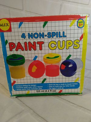 Art kids paint cups 4 sealable Alex toys child crafts new for Sale in Belmont, MA