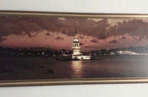 Istanbul maiden's tower wall art, europe wall art gold frame for Sale in Rolling Meadows, IL