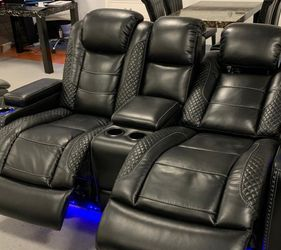 ♦️New Brand 👁️🗨️Party Time Midnight LED Power Reclining Sofa with Adjustable Headrest 🚚SAME DAY Delivery for Sale in Beltsville,  MD