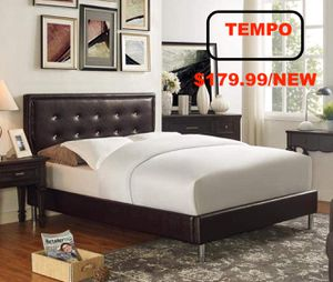Queen Faux Leather Bed, Black for Sale in Fountain Valley, CA