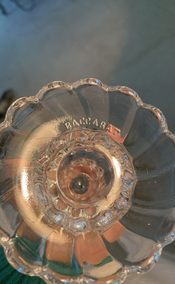 Antique Bambous Swirl Molded Crystal Candlesticks Baccarat