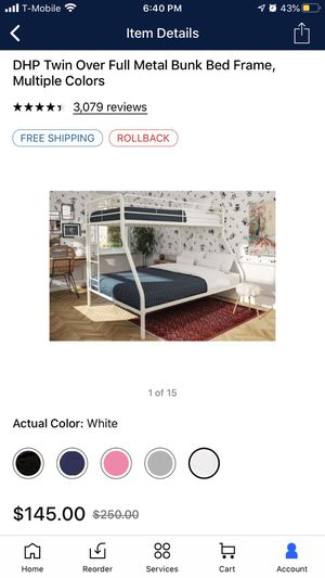 Twin over full metal bunk bed frame for Sale in Malden, MA
