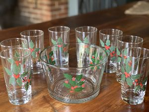 Hand-painted Holiday Glassware Set for Sale in Levittown, PA