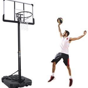 MaxKare Portable Basketball Hoop & Goal Basketball System Basketball Equipment Height Adjustable 7ft 6in-10ft with 44 Inch Backboard and Wheels for Y for Sale in Whittier, CA