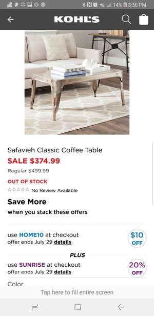 Safavieh Classic Iron Coffee Table for Sale in Parkersburg, WV