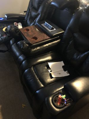 Blk leather couch 2seats recliner with night lights usb charger n plug sockets for Sale in MD, US