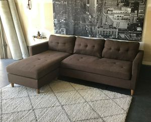 Nice brown fabric reversible sectional sofa • Good condition • Free delivery for Sale in Las Vegas, NV