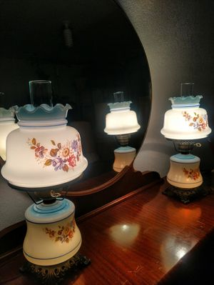 Vintage Milk Glass Hurricane Lamps for Sale in Pleasant Hill, IA