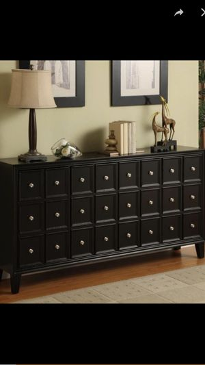 """Black credenza 700. Excellent condition. Shelf's inside 67""""W x 14.5""""D x 35""""H Urban Black Credenza Apothecary-inspired, but thoroughly contemporary for Sale in Henderson, NV"""