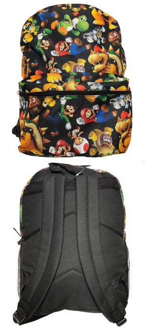NEW! Super Mario Bros Backpack, Mario Luigi bowser princess yoshi party back to school bag book bag kids bag Nintendo switch wii video games cartoon for Sale in Carson, CA