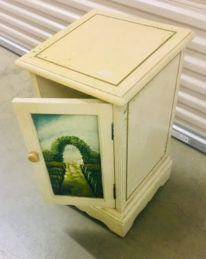 Hand painted two shelf wood cabinet with scene of Italian countryside on the front. for Sale in Englewood, CO