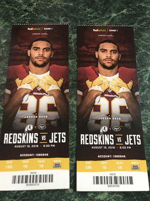 Redskins vs jets tickets for Sale in Manassas, VA