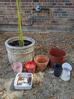 Planters concrete terracotta clay plastic Grow sticks and watering jug for Sale in Fairfax, VA