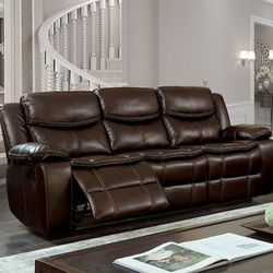 BROWN BREATHABLE LEATHERETTE DOUBLE STITCH SOFA COUCH RECLINER - SILLON RECLINABLE for Sale in San Diego,  CA
