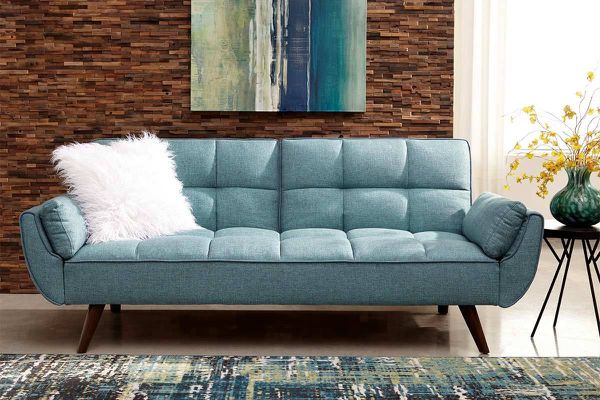Turquoise blue sofa sleeper futon sofa bed for Sale in Fort ...