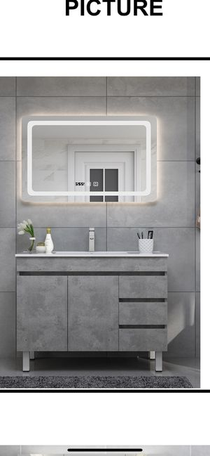 Bathroom vanity ,bathroom cabinet with led mirror modern gray for Sale in Melrose Park, IL
