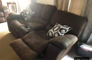 Brown microfiber sofa/loveseat (DO NOT ASK ME TO EMAIL PICTURES) for Sale in Gambrills, MD