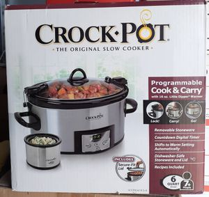 Crock pot SCCPVL619 S A 6 Quart Metallic Cooker with Hinged Lid, for Sale in Beaumont, CA