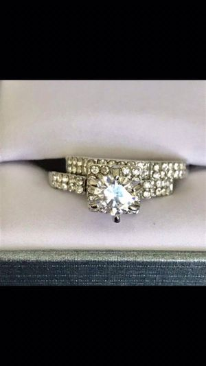 Silver plated sapphire wedding engagement ring band set women's jewelry accessory size 6,7,8 available for Sale in Silver Spring, MD