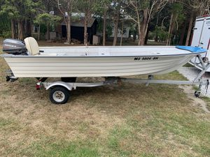 1994 14' Fiberglass Larivee with a 1983 8hp 2 stroke Mariner outboard. for Sale in Westport, MA