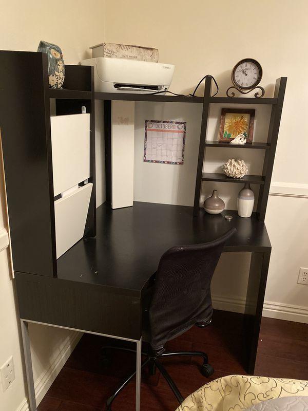 Dark brown Wooden Study Computer Corner Desk With Drawer