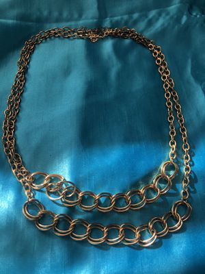 """Two chain bundle gold metal necklace long 