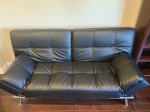 Black Leather Futon Couch/Sofa for Sale in Los Angeles, CA