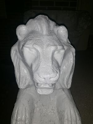 Two large stone white lions for Sale in Fort Washington, MD