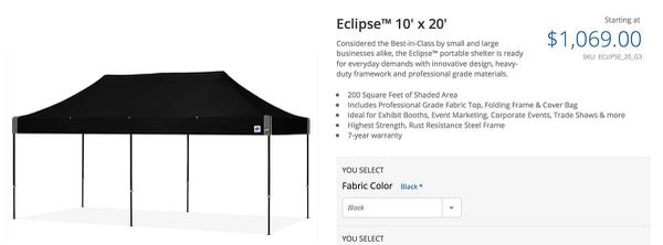Eclipse 10x20 EZ-UP Tent