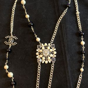 Square CC white and Black Pearls Silver Chain Necklace for Sale in Fremont, CA