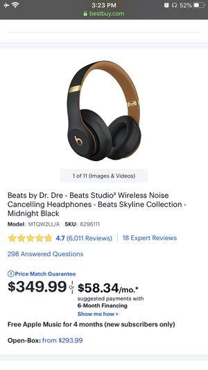 Midnight black Beats studio3 wireless cancelling headphones for Sale in Hayward, CA