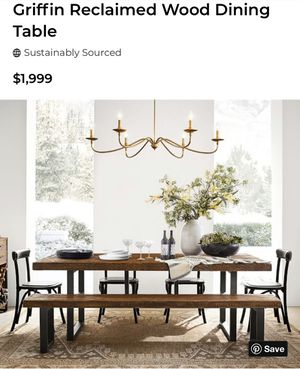 Pottery Barn Griffin Dining table and Bench for Sale in Houston, TX
