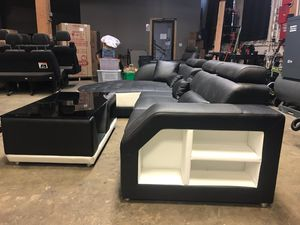 Luxury z gallerie black leather sectional couch for Sale in Portland, OR